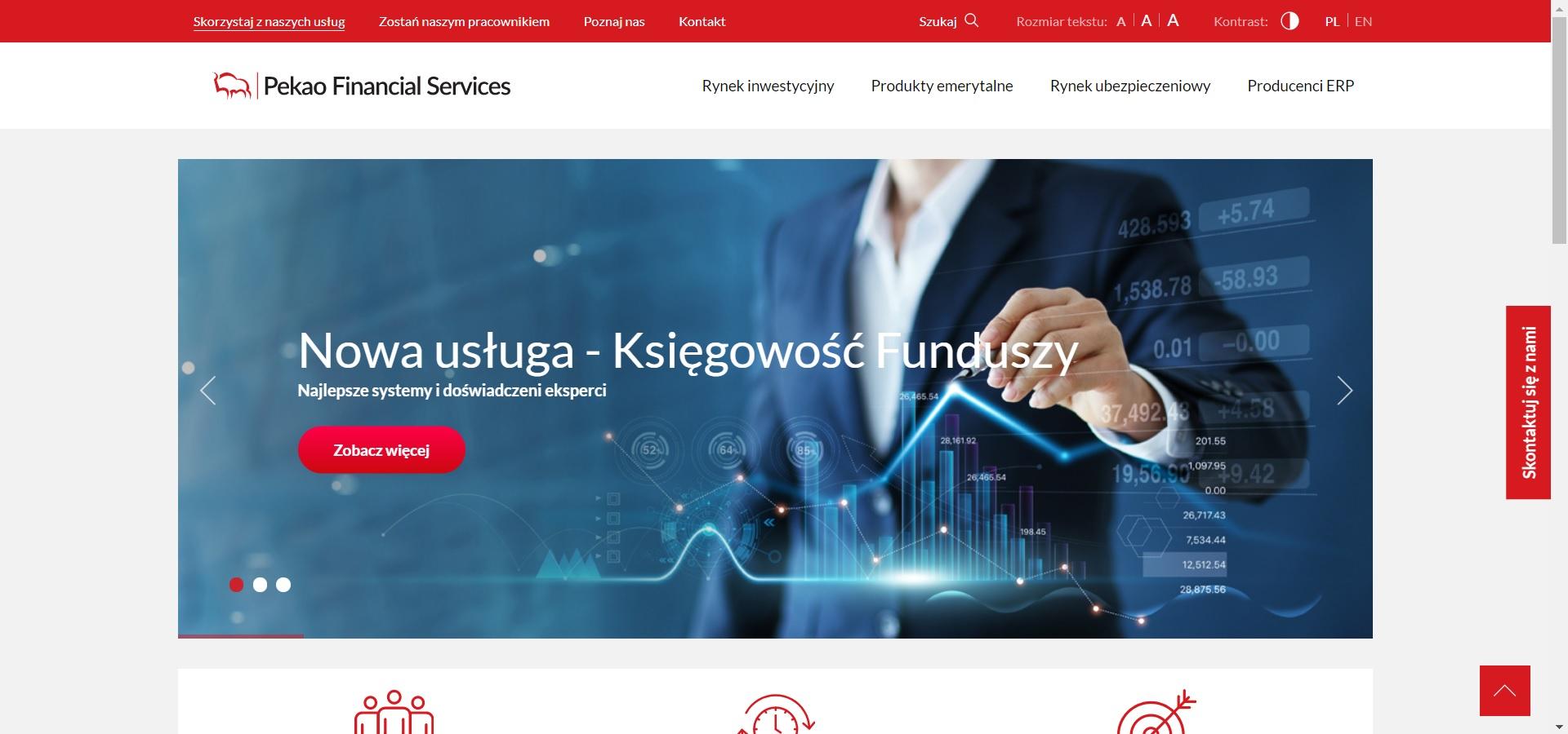 Strona internetowa dla banku pekao sa